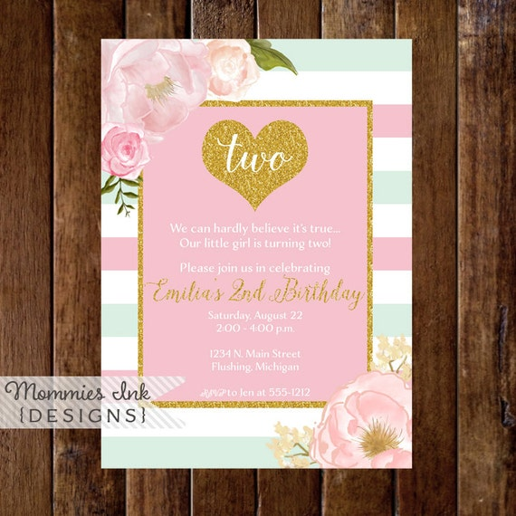 Mint And Pink Stripe Gold Heart Birthday Party Invitation Glitter Invite 2nd Watercolor Floral