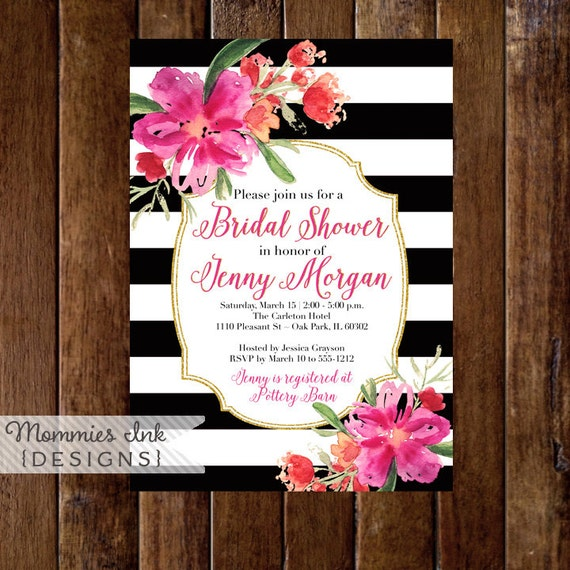 bridal shower invitation tropical flower invitation baby shower