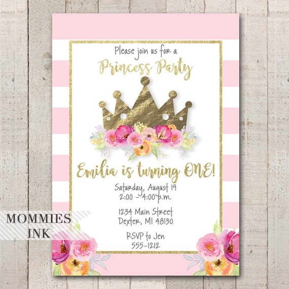 Girls First Birthday Invitation Princess Party Etsy