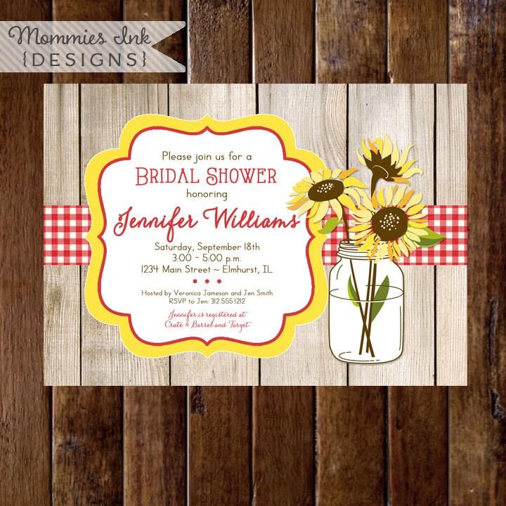 70aeaf5eb55 Sunflower Bouquet in Mason Jar Bridal Shower Invite Barn Wood
