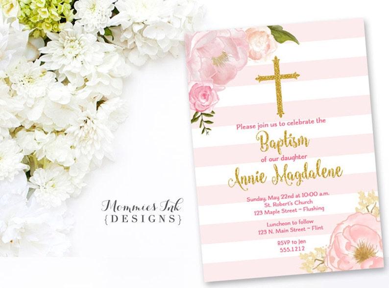 Pink And Gold Baptism Invitation Dedication Invite Etsy