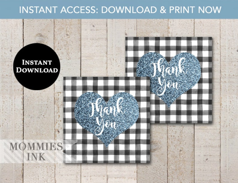 Thank You Tag Blue Heart Favor Tag INSTANT DOWNLOAD Black and White Buffalo Check Favor Tag Black Gingham Blue Glitter Heart Favor Tag