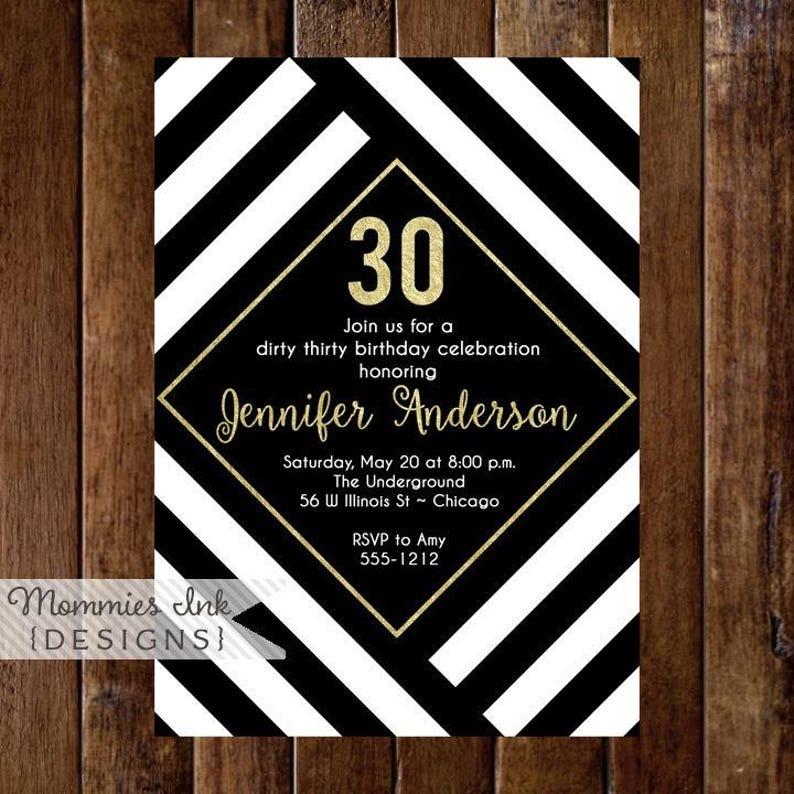 30th Birthday Invitation Black White And Gold