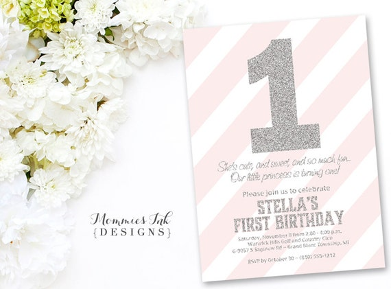 silver glitter first birthday invitation light pink stripes silver