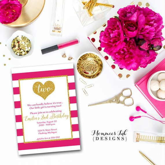 Hot Pink Stripe Gold Heart Birthday Party Invitation Glitter 2nd