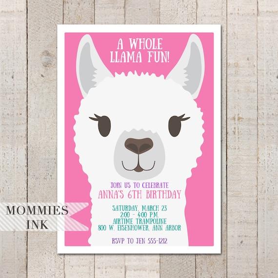Pink Llama Birthday Invitation 6th Invite Face Party Whole Fun Kids