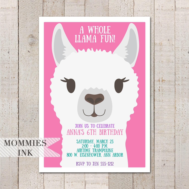 Pink Llama Birthday Invitation 6th Invite