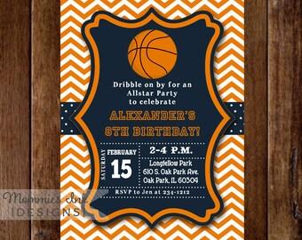 Basketball Invitation, Basketball Birthday Invitation, Basketball Party Invitation, Sports Invitation, Bball Invitation, Team Colors Invite