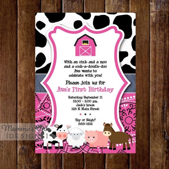Pink Farm Birthday Invitation First Party Bandana Cow Print Invite Animals