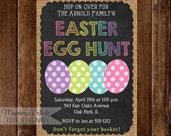 Easter Egg Hunt Invitation, Burlap and Chalk Easter Eggs, Easter Egg Hunt Invite, Easter Invite, Chalkboard Invitation, Easter Chalk Invite