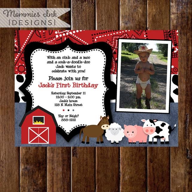 Farm Birthday Invitation, Farm Animals Birthday Party Invite, Farm Party, Farm Bday Invite, First BIrthday Invitation, 1st Birthday Invite