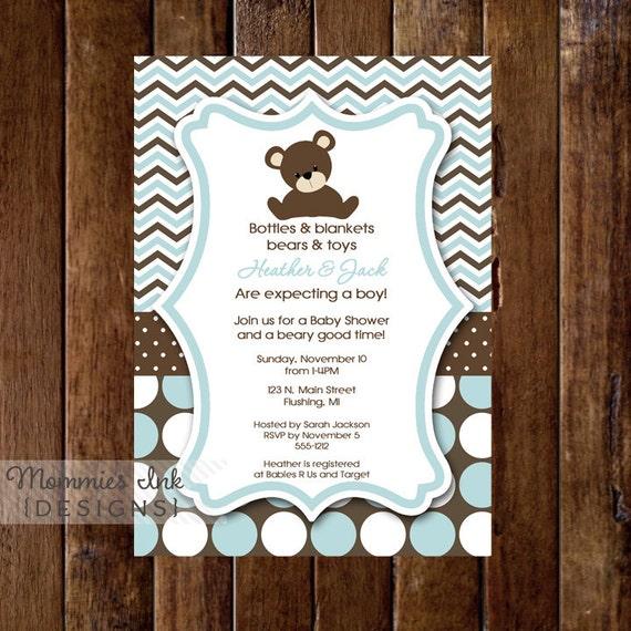 Teddy Bear Baby Shower Invitation, Teddy Bear Invitation, Its A Boy, Boy Baby Shower Invitation, Light Blue Invitation, Bear Invite