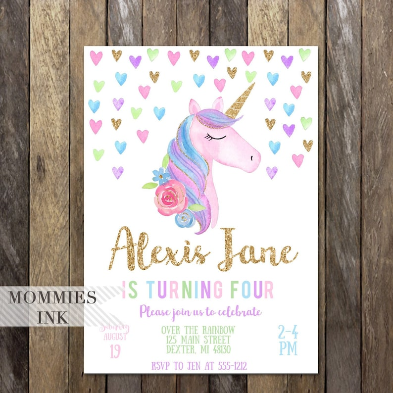 Unicorn Birthday Invitation Girls 4th