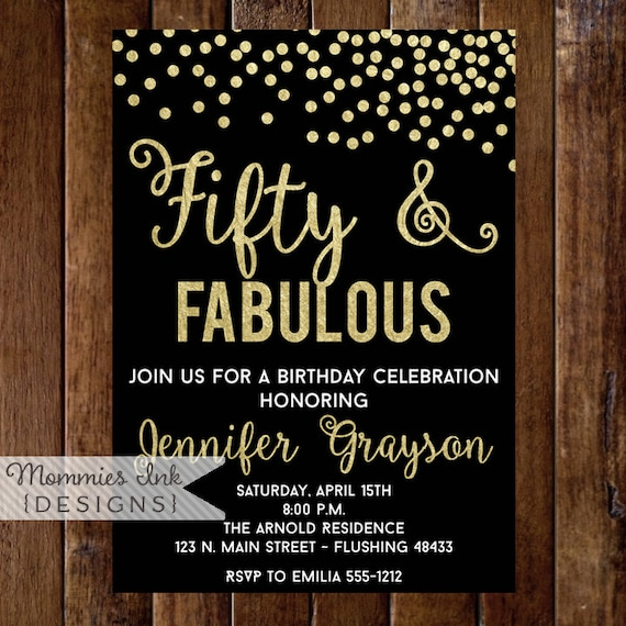 Fifty And Fabulous Invitation 50th Birthday