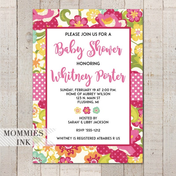 Bright Floral Bridal Shower Invitation Baby Invite Sip And