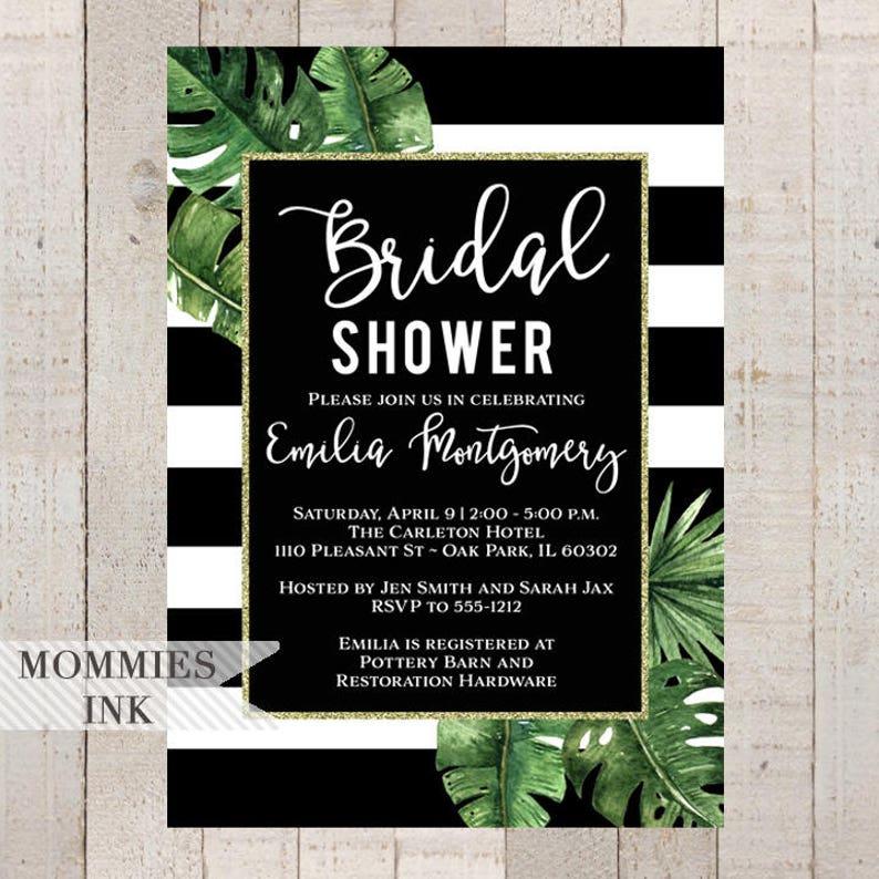 919d4110a98a1 Bridal Shower Invitation Tropical Invitation Banana Leaf