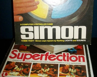 Vintage Family Fun Games Superfection and Simon Electronic Computer Game