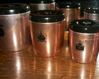Vintage West Bend Pink Aluminum Canister Set