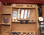Vintage Men 39 s Jewelry Valise with Contents Tie Clips, Pocket Knives, Pins