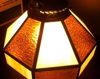 Stained glass lamp shade etsy vintage amber stained glass lamp shade or chandelier aloadofball Images