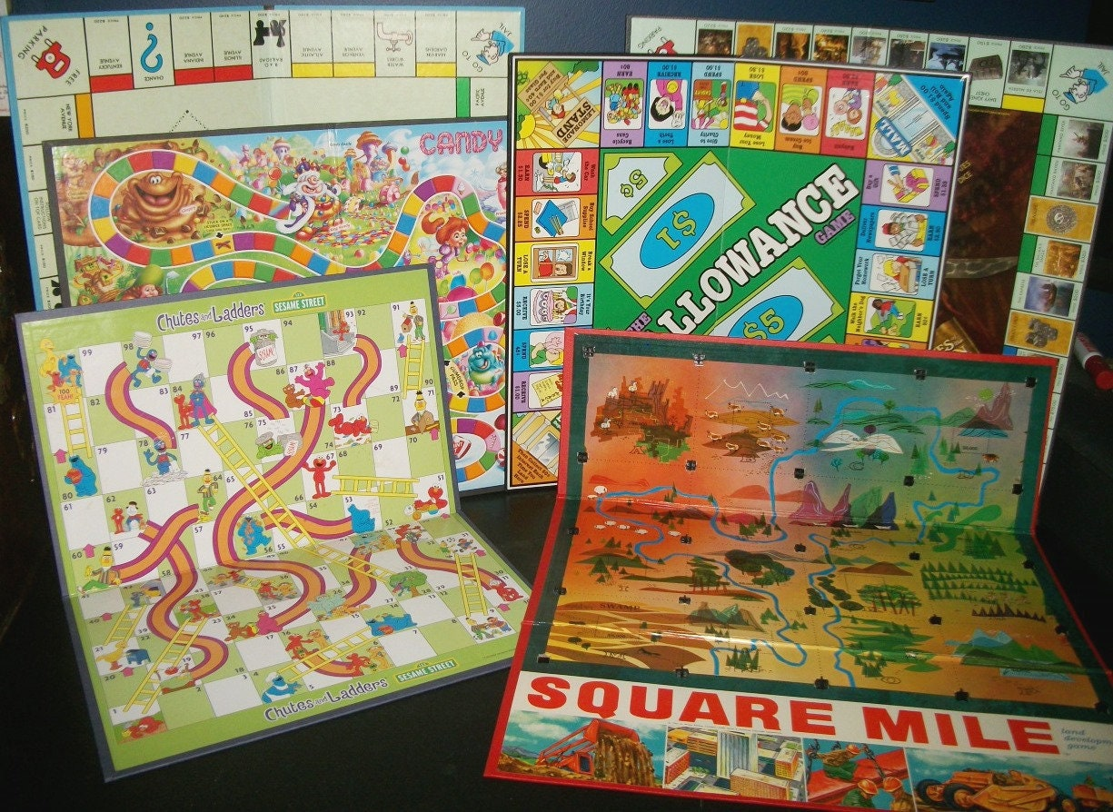 6 Vintage Game Boards Allowance Monopoly Chutes And Ladders Etsy