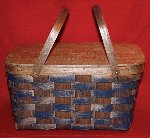 Basketville Picnic Basket Set Wood Wicker Weave Melmac
