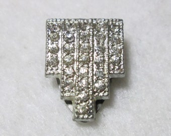 Vintage Green and Clear Rhinestone Dress Clip Silver Tone Metal