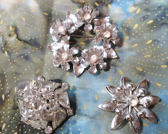 3 Vintage Silver tone and Rhinestone Brooches