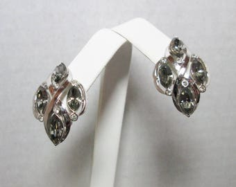 Vintage Rhinestone and Silver Tone Clip Earrings
