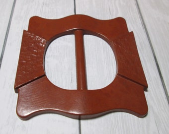 Brown Art Deco scarf slide and buckle