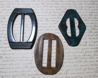 3 Vintage Large Scarf slides and buckles lot