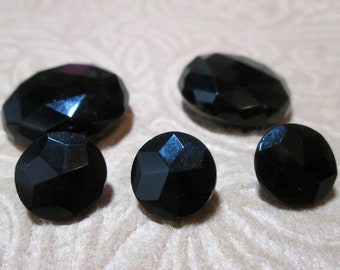 5 Vintage Faceted Black Glass Buttons - small and medium