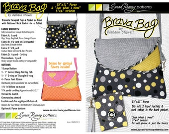 Purse pattern with pocket for tablet and wristlet pattern
