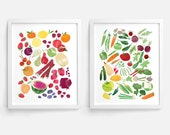Fruits and Vegetables Prints - Set of 2 (8 x 10)