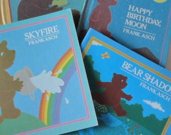 1 Set 80s Vintage HC Childrens Books - Moon Cake & Happy Birthday Moon - Frank Asch Kids Collectible Bear Bedtime Storybooks, Rainbow