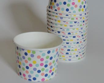 1 Set of RAINBOW POLKA DOTS Party Cups Snack Cups Ice Cream Cups Dessert Bowls - Baby Shower, Birthday, Polkadot Party, Unicorn Party