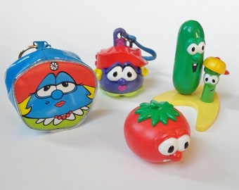 1 Veggie Tales LOT - Cake Topper, Zipper Pull/Key Chain, Coin Purse - Madame Blueberry Larry the Cucumber Bob the Tomato, Retro Cartoon Gift