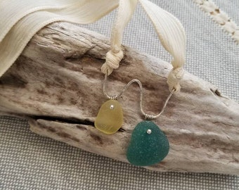 Genuine yellow and teal green Spanish sea glass necklace - sterling silver silk necklace