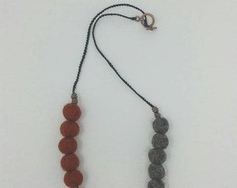 Rust, dark brown, peach felted wool necklace - macrame necklace