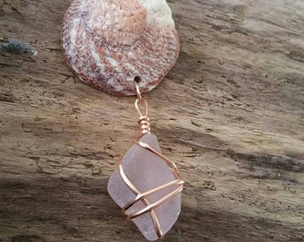 Genuine pale lavender she'll and sea glass necklace - silk ribbon necklace - gold filled wire wrapped sea glass pendant