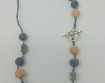 Peach and grey Labradorite wool felted necklace - beaded macrame necklace