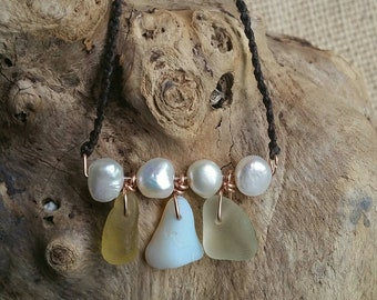 Genuine Opalescent and honey yellow sea glass necklace - Irish waxed linen necklace