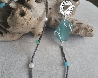 Genuine Turquoise Aqua Blue Sea Glass necklace - Amazonite Irish waxed linen macrame necklace with white bronze toggle clasp