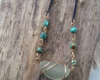 Chunky genuine sea foam green Long Island sea glass necklace - gold filled wire wrapped sea glass necklace - Turquoise beaded necklace