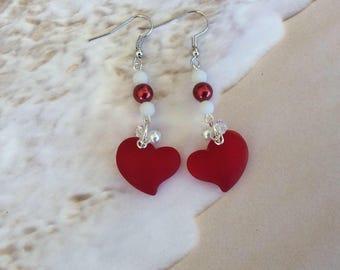 Sea Glass, Earrings, Cherry red, Hearts, Coastal, Beach, Nautical, Gift, Seashore