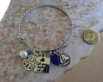 Sailing, Sea Glass, Stainless  Bangle, sailboat, Sand dollar, Coastal, Beach, Nautical,  Gift, Royal blue, Free shipping