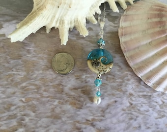 Ocean Wave, Aqua, Sand, Beach, Nautical, Coastal, Handmade, Gift, Necklace