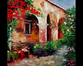 YARY DLUHOS, LIMITED Edition Print on Canvas Flower Garden Italy Villa Patio