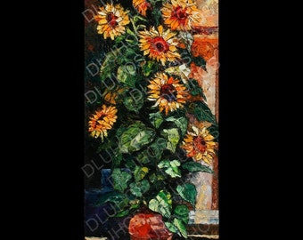 LISTED artist ANDRE DLUHOS SUNFLOWERS original oil painting MODERN IMPRESSIONISM