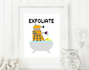 Doctor Who Dalek Exfoliate Cross Stitch Pattern